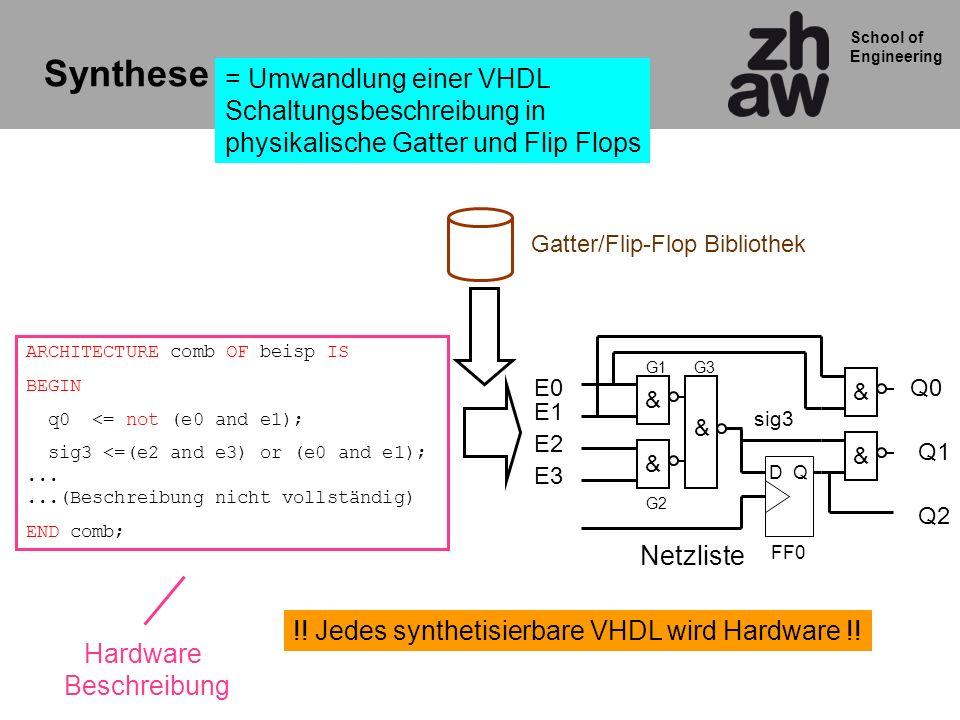 Synthese = Umwandlung einer VHDL Schaltungsbeschreibung in