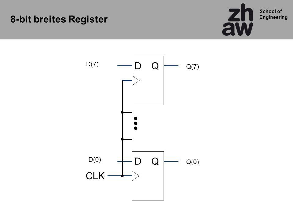 8-bit breites Register D(7) D Q Q(7) D(0) D Q Q(0) CLK