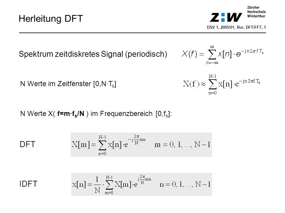 Herleitung DFT Spektrum zeitdiskretes Signal (periodisch) DFT IDFT