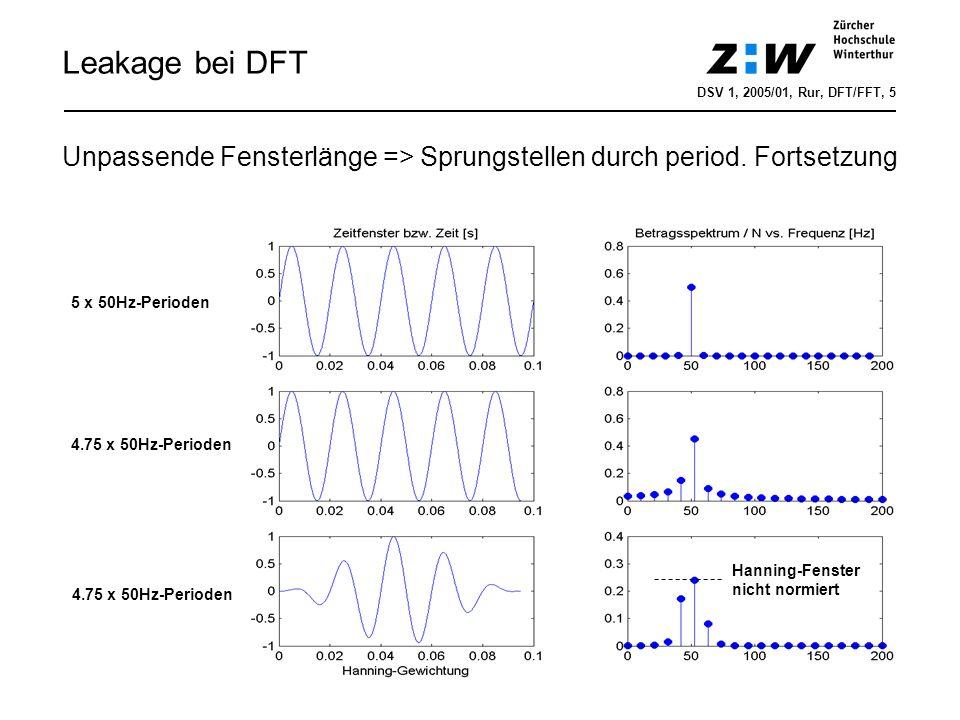 Leakage bei DFT DSV 1, 2005/01, Rur, DFT/FFT, 5. Unpassende Fensterlänge => Sprungstellen durch period. Fortsetzung.