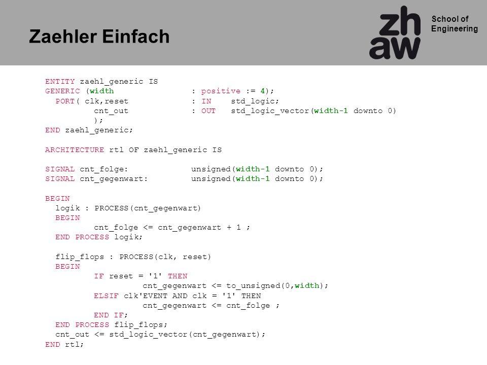 Zaehler Einfach ENTITY zaehl_generic IS