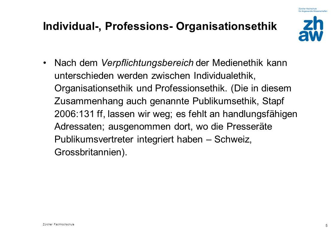 Individual-, Professions- Organisationsethik