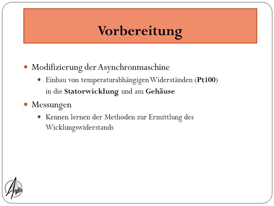 Vorbereitung Modifizierung der Asynchronmaschine Messungen