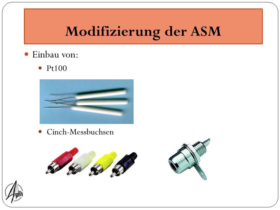 Modifizierung der ASM Einbau von: Pt100 Cinch-Messbuchsen 4