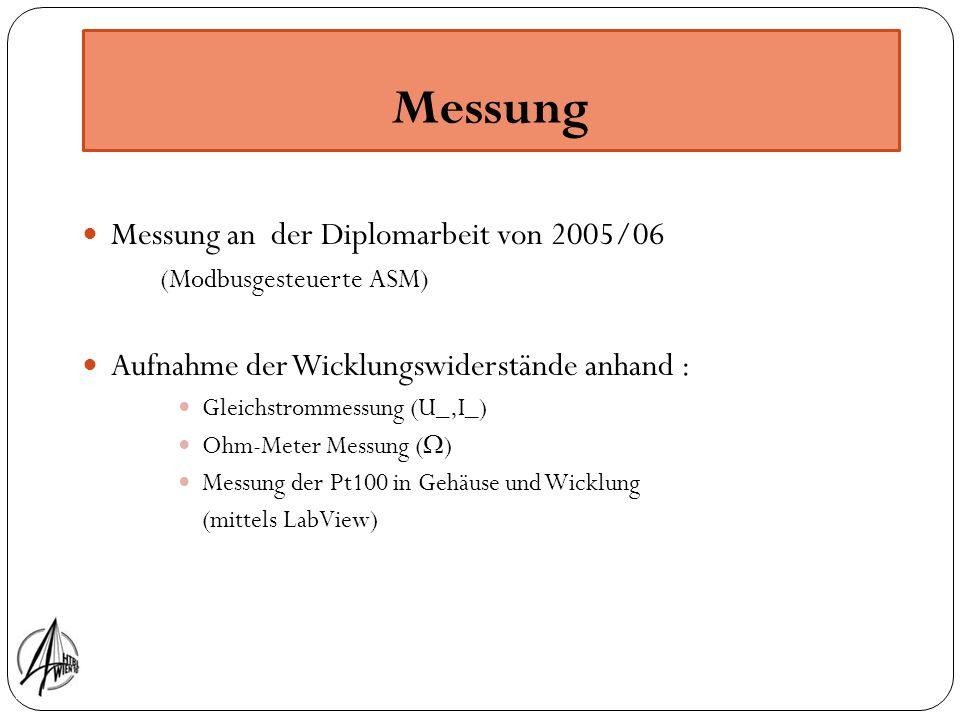 Messung Messung an der Diplomarbeit von 2005/06