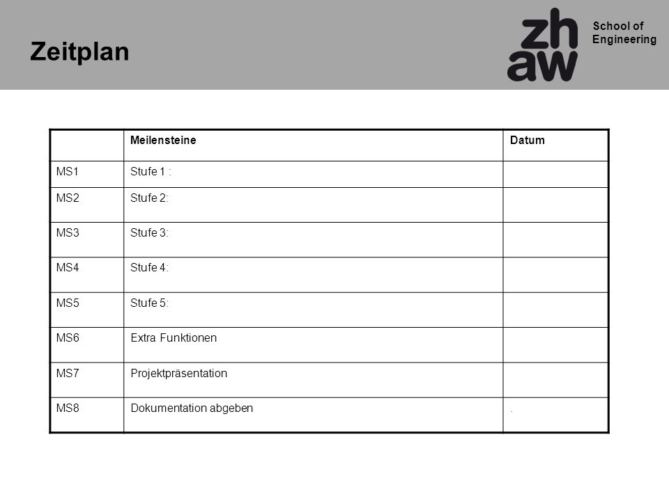 Zeitplan Meilensteine Datum MS1 Stufe 1 : MS2 Stufe 2: MS3 Stufe 3: