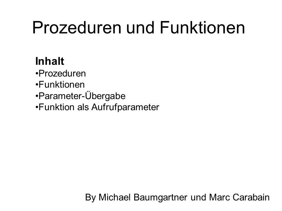 Prozeduren und Funktionen