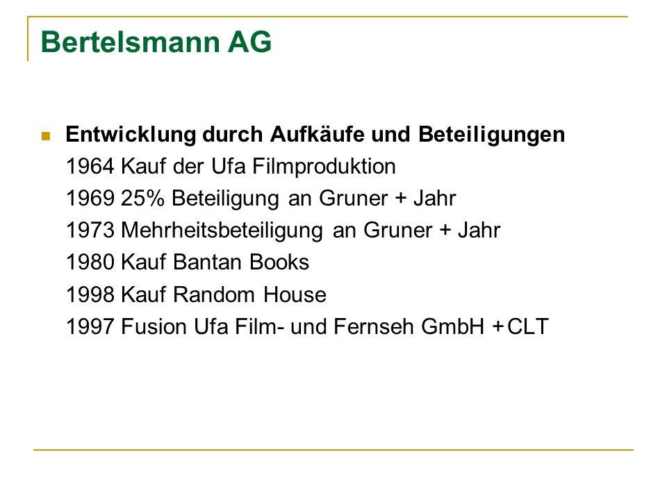 Bertelsmann AG Entwicklung durch Aufkäufe und Beteiligungen