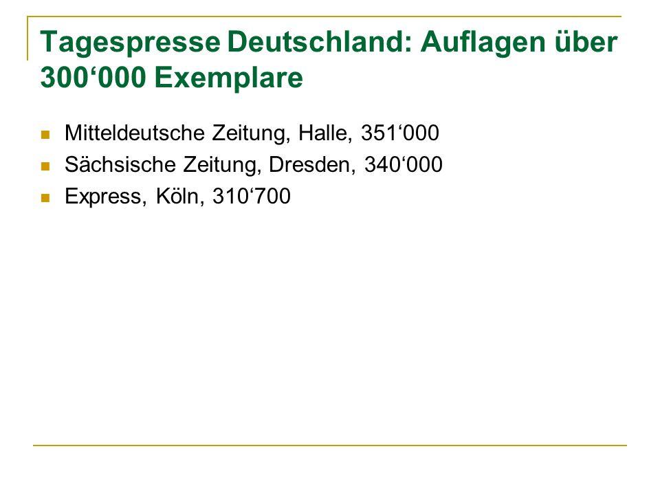 Tagespresse Deutschland: Auflagen über 300'000 Exemplare