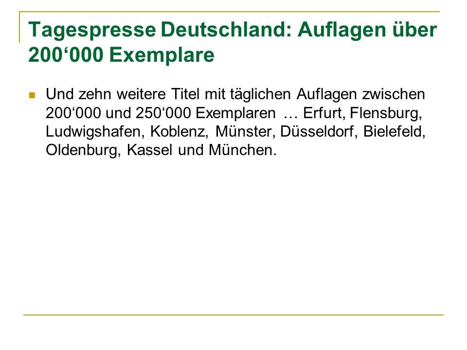 Tagespresse Deutschland: Auflagen über 200'000 Exemplare