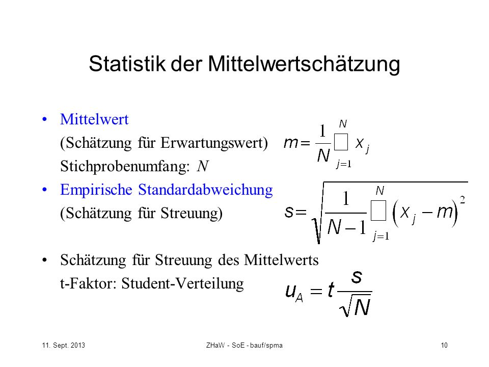 Statistik der Mittelwertschätzung