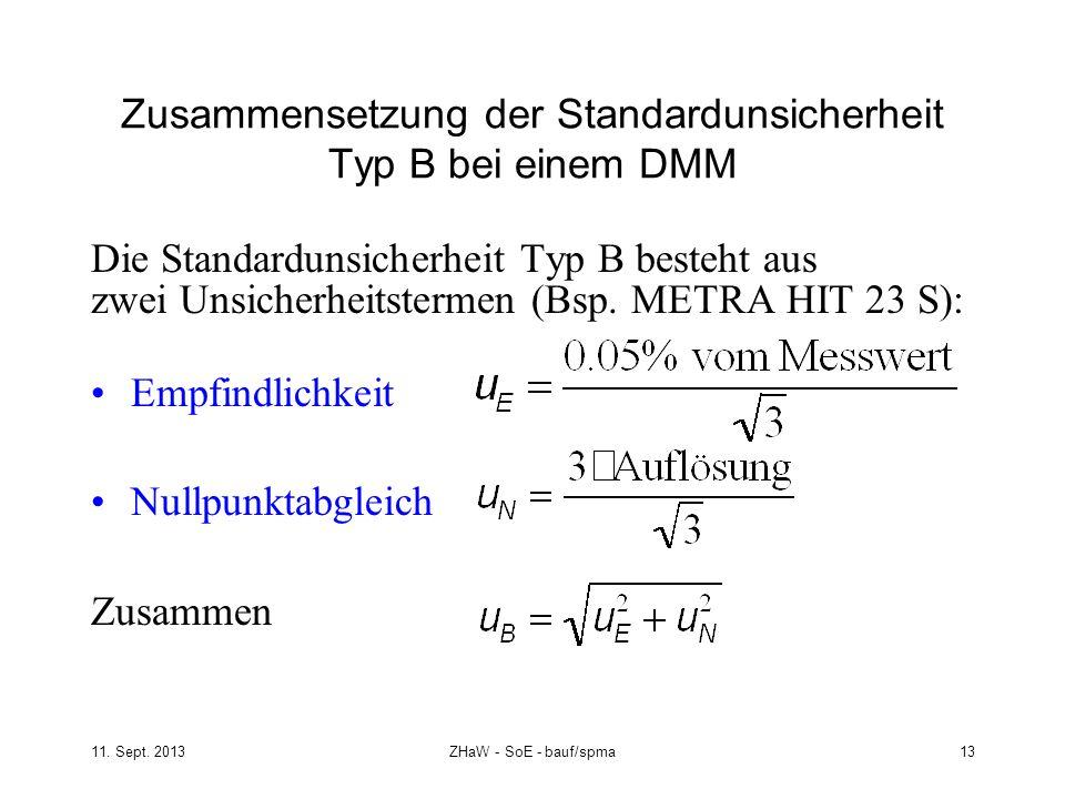 Zusammensetzung der Standardunsicherheit Typ B bei einem DMM