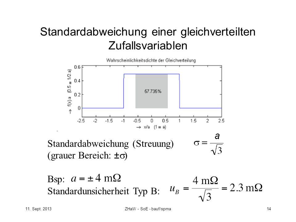 Standardabweichung einer gleichverteilten Zufallsvariablen