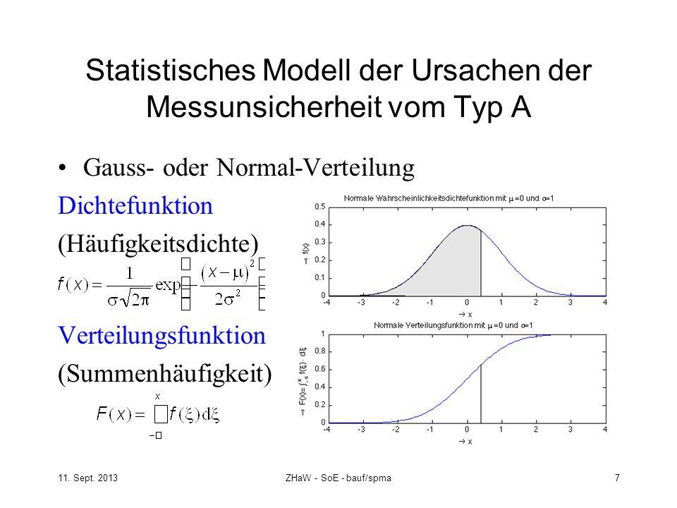 Statistisches Modell der Ursachen der Messunsicherheit vom Typ A