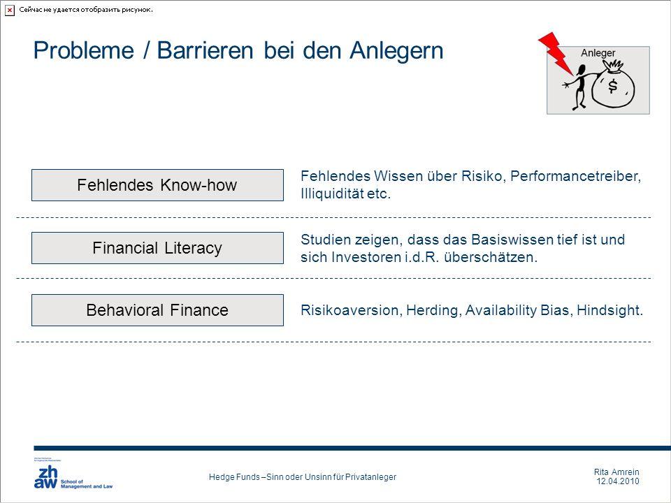 Probleme / Barrieren bei den Anlegern