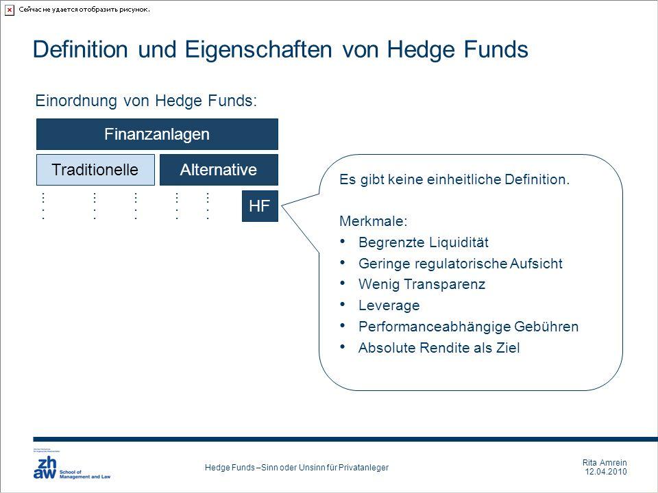 Definition und Eigenschaften von Hedge Funds