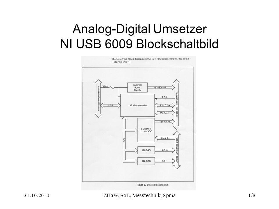 Analog-Digital Umsetzer NI USB 6009 Blockschaltbild