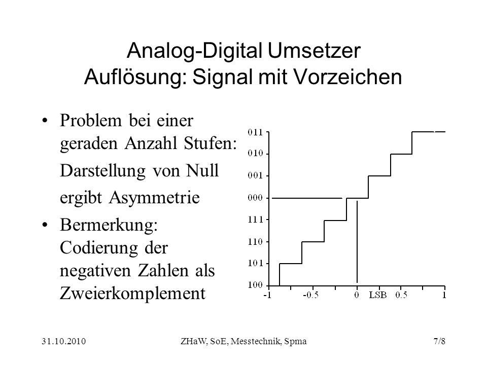 Analog-Digital Umsetzer Auflösung: Signal mit Vorzeichen