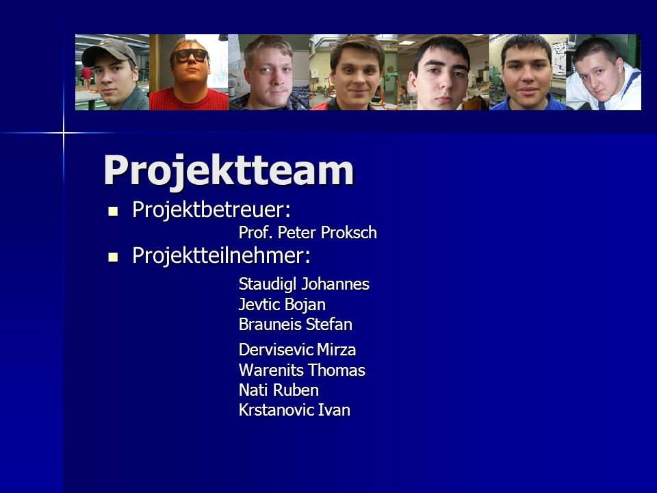 Projektteam Projektbetreuer: Projektteilnehmer: Staudigl Johannes