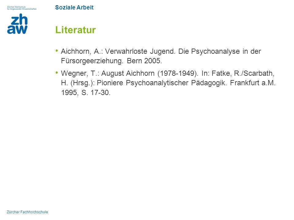 Literatur Aichhorn, A.: Verwahrloste Jugend. Die Psychoanalyse in der Fürsorgeerziehung. Bern 2005.