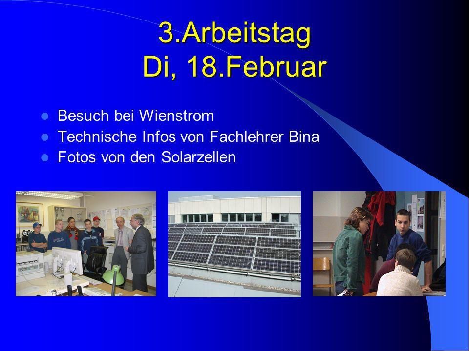 3.Arbeitstag Di, 18.Februar Besuch bei Wienstrom
