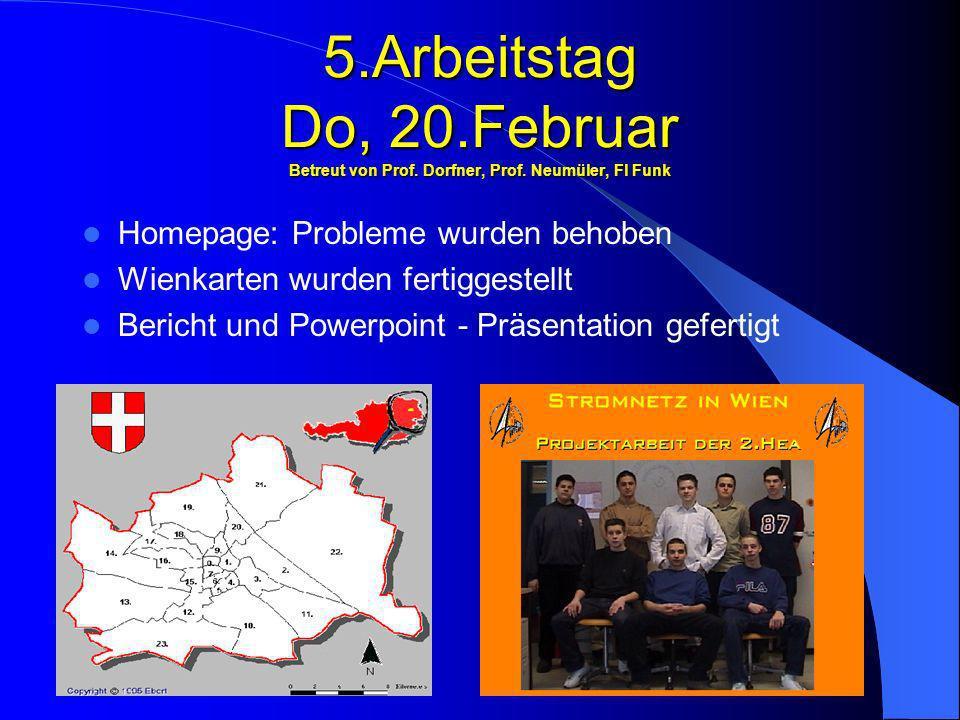 5. Arbeitstag Do, 20. Februar Betreut von Prof. Dorfner, Prof