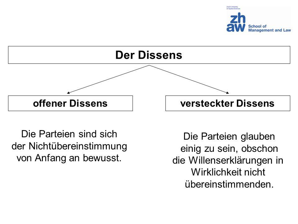 Der Dissens offener Dissens versteckter Dissens Die Parteien sind sich