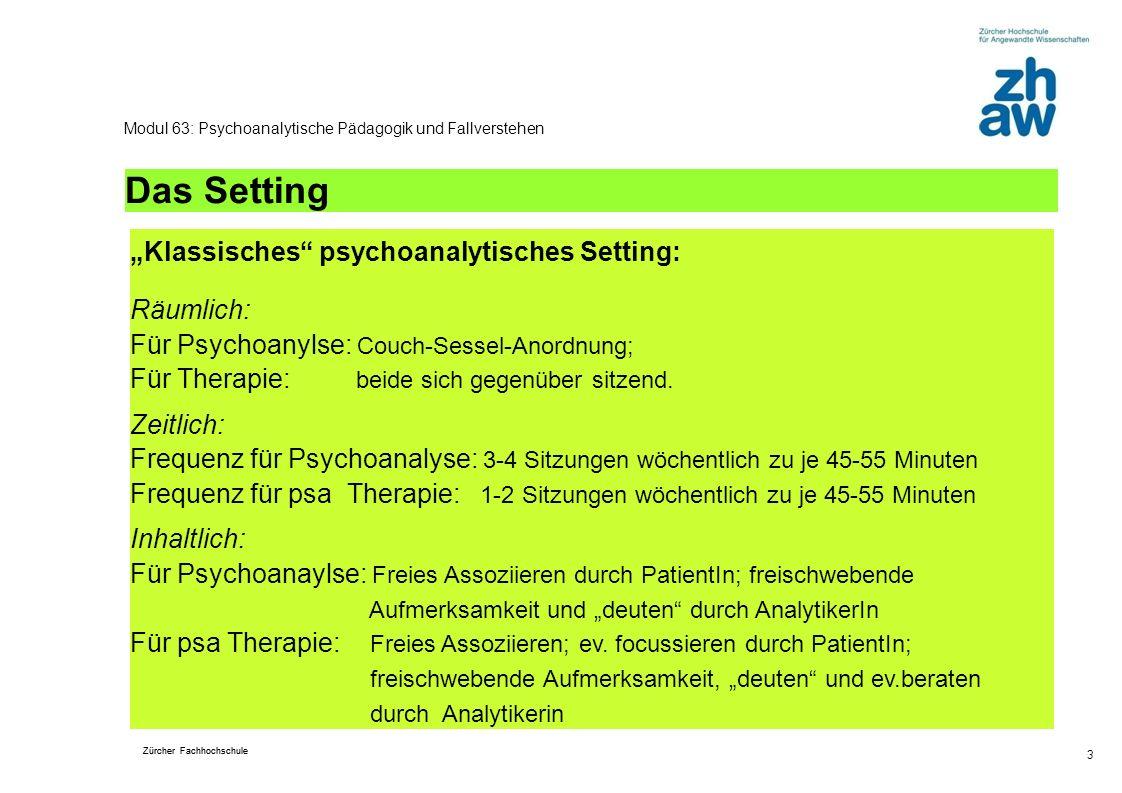 """Das Setting """"Klassisches psychoanalytisches Setting:"""