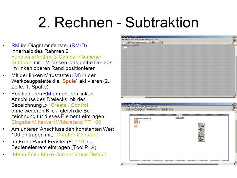 2. Rechnen - Subtraktion