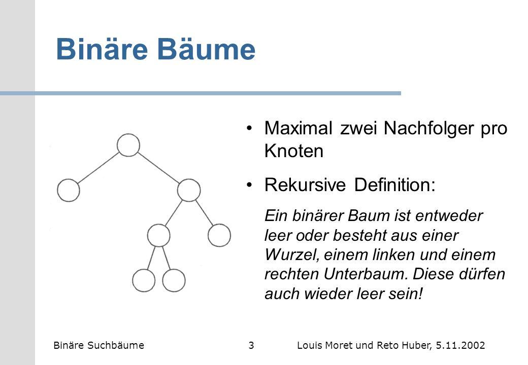 Binäre Bäume Maximal zwei Nachfolger pro Knoten Rekursive Definition: