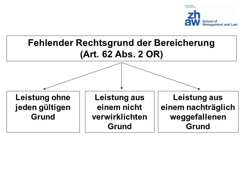 Fehlender Rechtsgrund der Bereicherung (Art. 62 Abs. 2 OR)