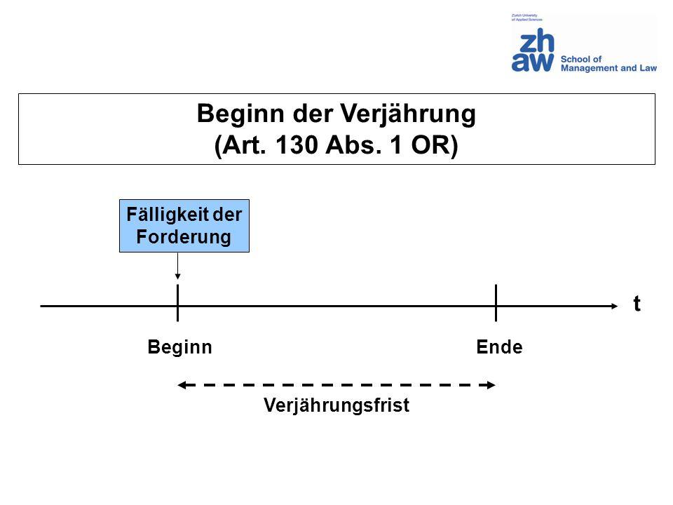 Beginn der Verjährung (Art. 130 Abs. 1 OR)