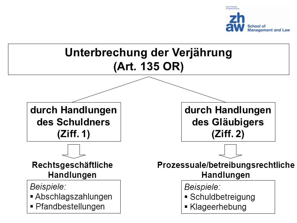 Unterbrechung der Verjährung Prozessuale/betreibungsrechtliche