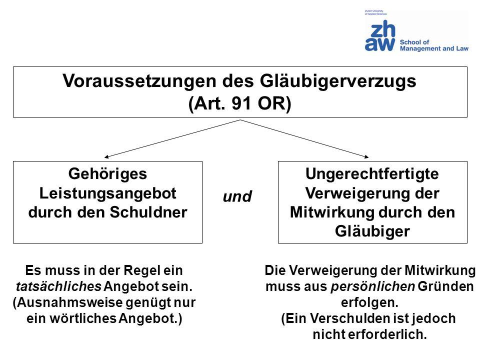 Voraussetzungen des Gläubigerverzugs (Art. 91 OR)