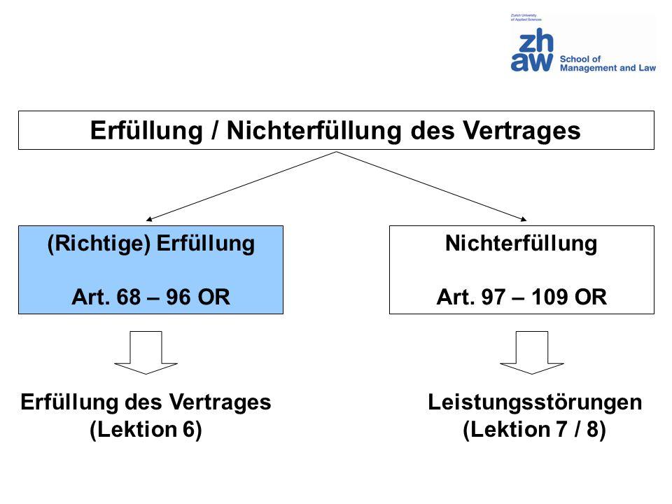 Erfüllung / Nichterfüllung des Vertrages Erfüllung des Vertrages