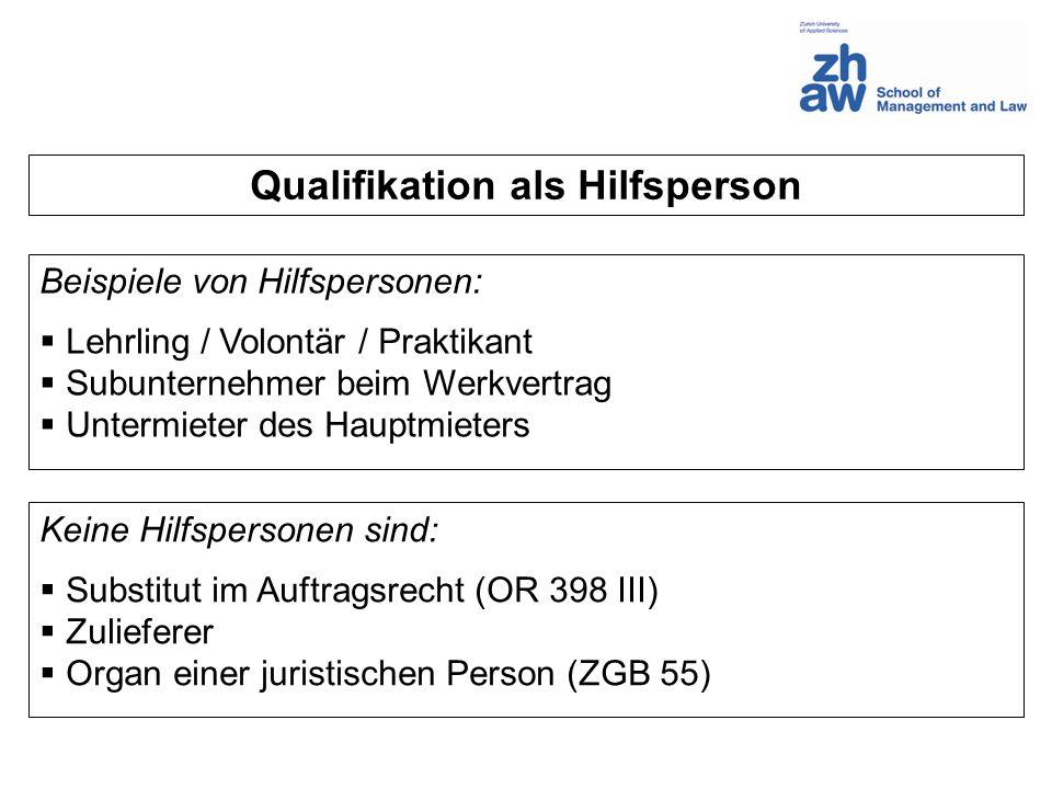 Qualifikation als Hilfsperson