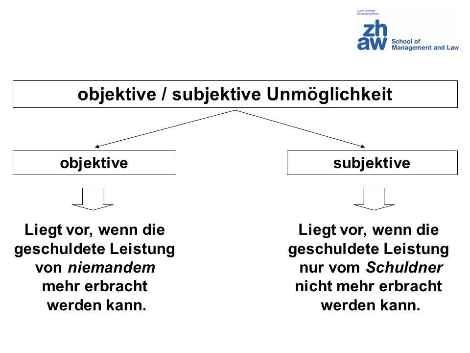 objektive / subjektive Unmöglichkeit