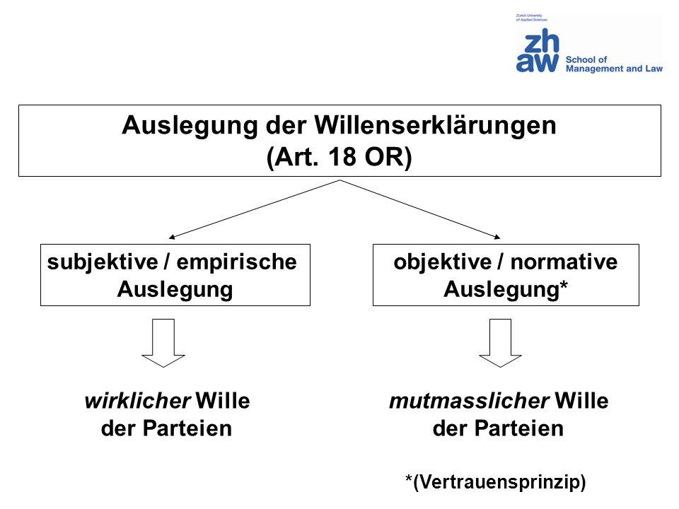 Auslegung der Willenserklärungen (Art. 18 OR)
