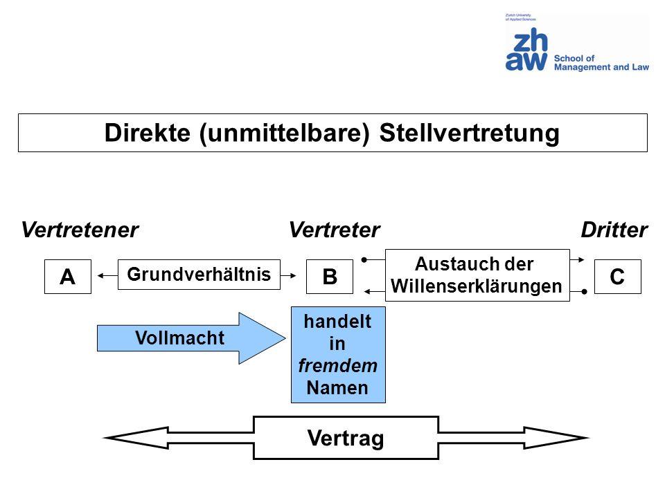 Direkte (unmittelbare) Stellvertretung