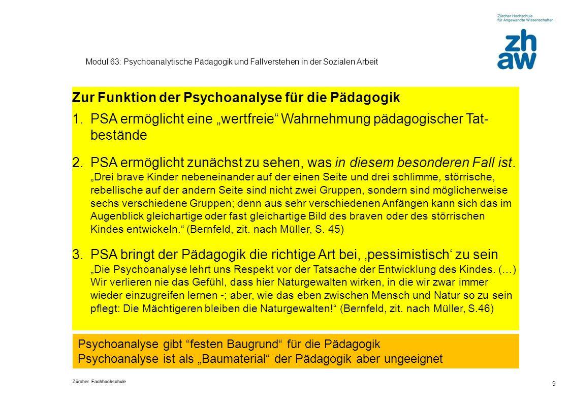 Zur Funktion der Psychoanalyse für die Pädagogik