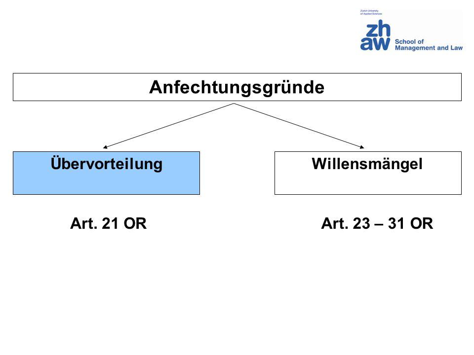 Anfechtungsgründe Übervorteilung Willensmängel Art. 21 OR