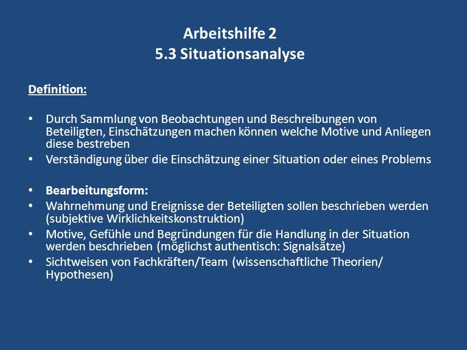 Arbeitshilfe 2 5.3 Situationsanalyse