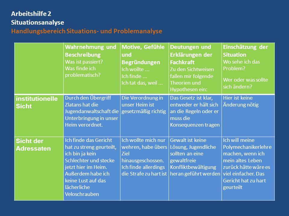 Arbeitshilfe 2 Situationsanalyse Handlungsbereich Situations- und Problemanalyse