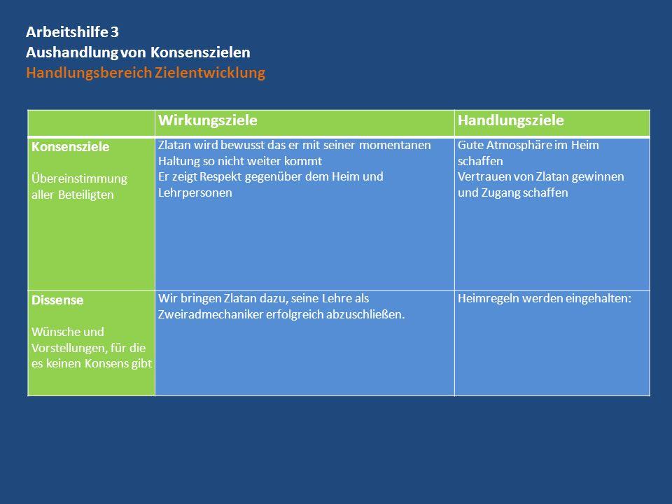 Arbeitshilfe 3 Aushandlung von Konsenszielen Handlungsbereich Zielentwicklung