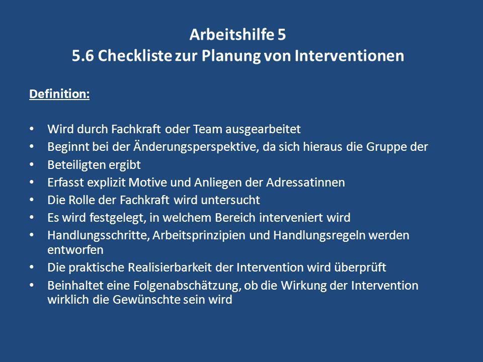 Arbeitshilfe 5 5.6 Checkliste zur Planung von Interventionen
