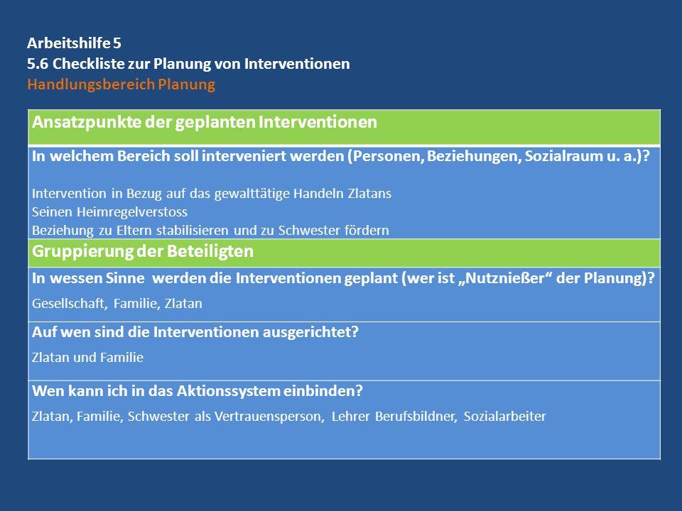 Ansatzpunkte der geplanten Interventionen