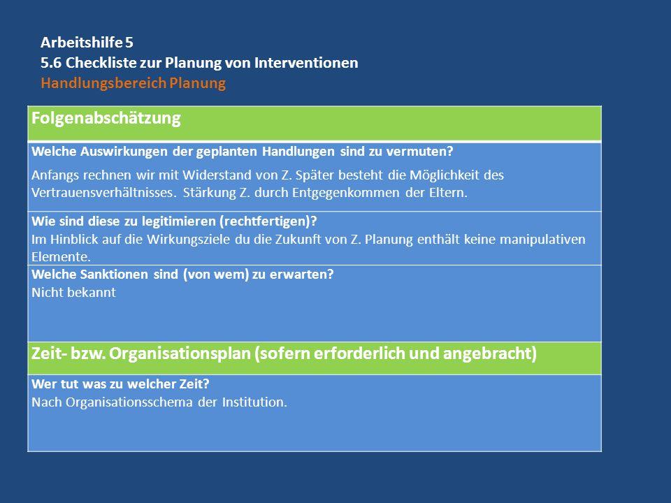 Zeit- bzw. Organisationsplan (sofern erforderlich und angebracht)