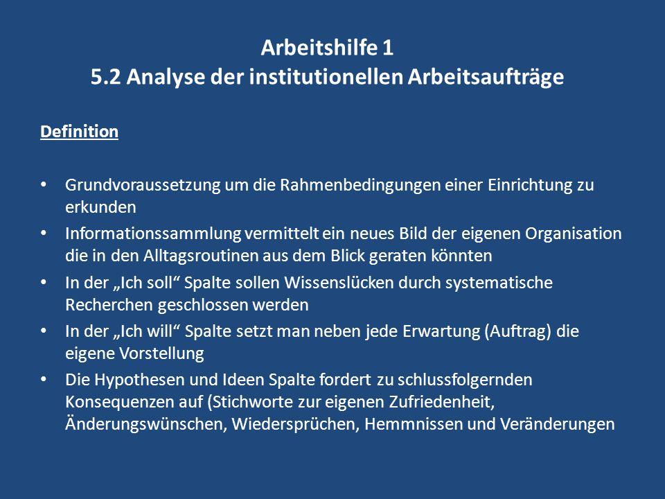Arbeitshilfe 1 5.2 Analyse der institutionellen Arbeitsaufträge