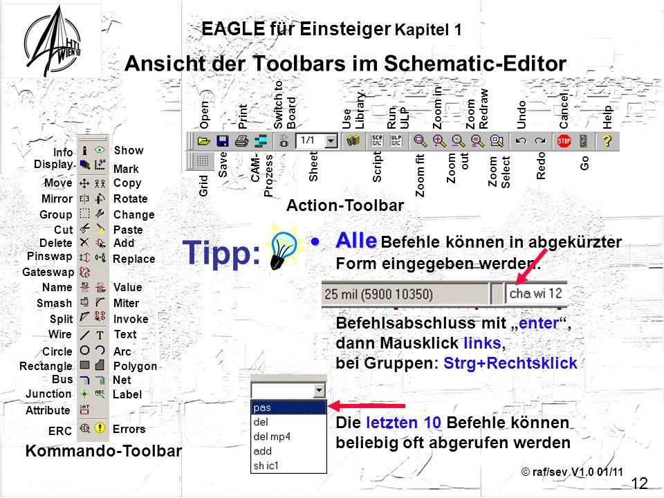 Ansicht der Toolbars im Schematic-Editor