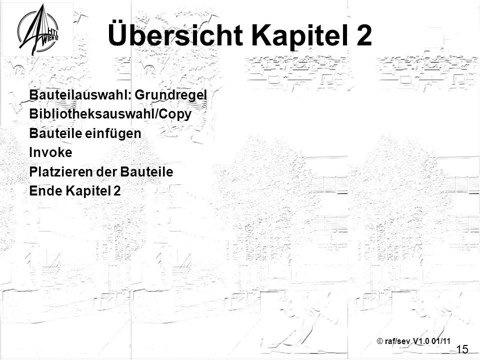 Übersicht Kapitel 2 Bauteilauswahl: Grundregel Bibliotheksauswahl/Copy